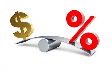 Balanza simbolo de dolar y porcentaje