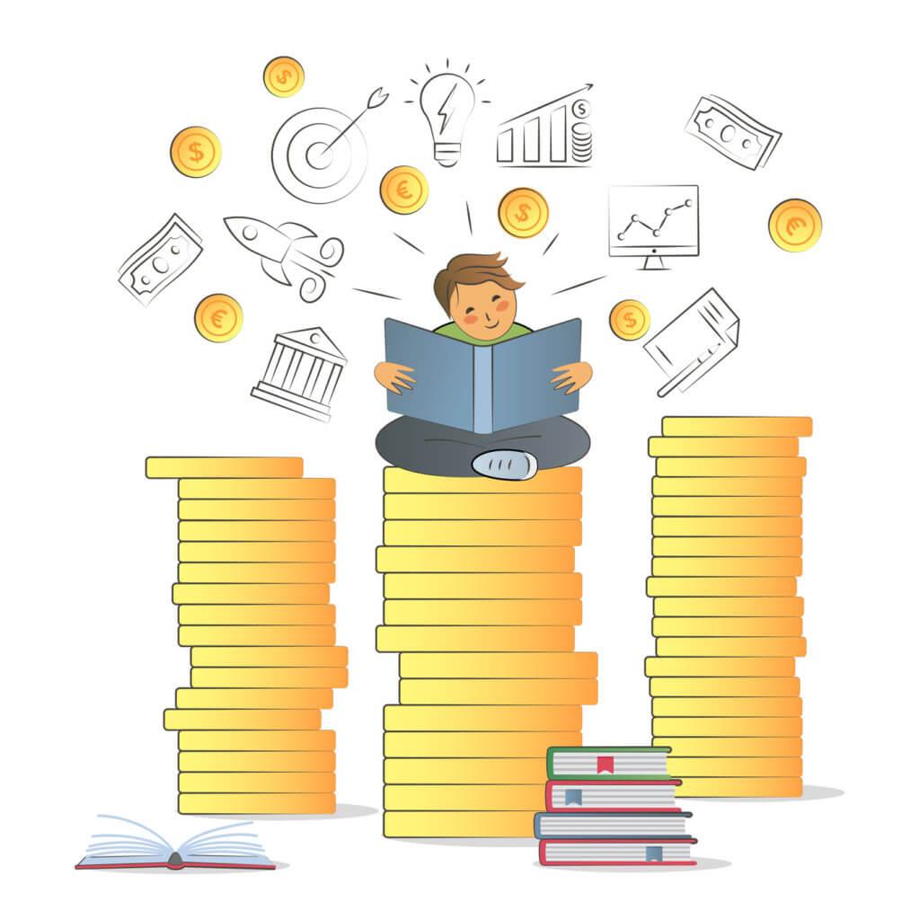 niño estudiando sobre finanzas y dinero