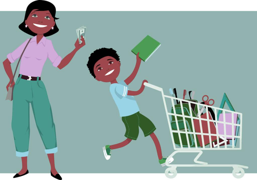 madre e hijo haciendo las compras de regreso a clases