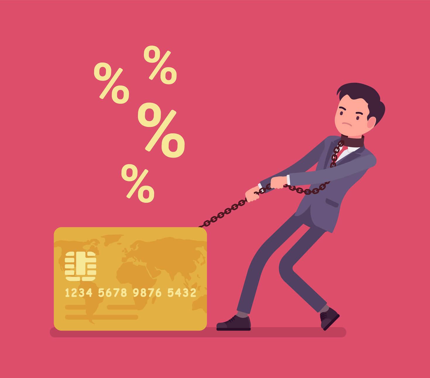 Hombre cargado con deuda de tarjetas de crédito
