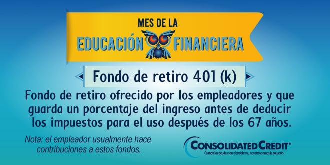 Fondo de retiro ofrecido por los empleadores y que guarda un porcentaje del ingreso antes de deducir los impuestos para el uso después de los 67 años.