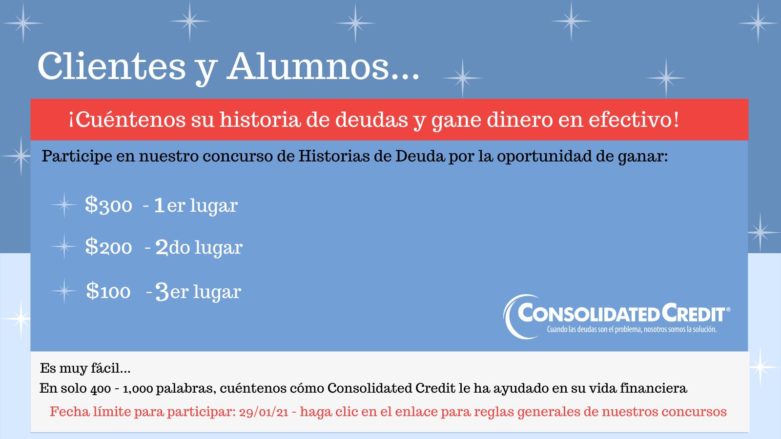 Los clientes y ex alumnos podrían ganar hasta $300 por compartir su historia de liberación de las deudas en nuestro concurso.