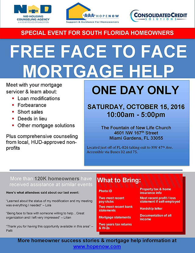 Free HopeNOW mortgage help event