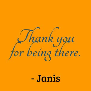 A message of thanks from alumni Janis