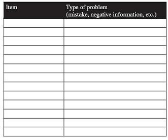 Repair credit worksheet