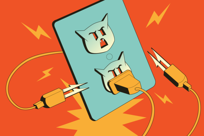 vampire energy; illustration of power outlet with sparks that looks evil