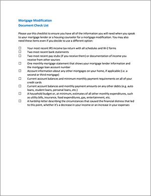 Mortgage Modification Checklist