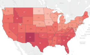 A map of average debt burden by state