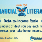 Financial Literacy: Wise Up! Debt-to-Income Ratio: The amount of debt you pay each month versus your take-home income..