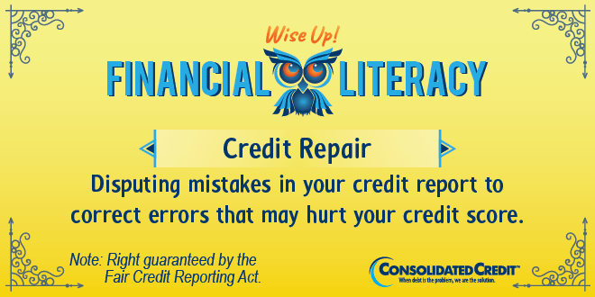 Financial Literacy - Wise Up! Credit Repair: Disputing mistakes in your credit report to correct errors that may hurt your credit score.