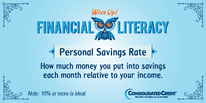 Financial Literacy - Wise Up! Personal Savings Rate: How much money you put into savings each month relative to your income.
