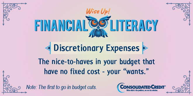 Financial Literacy - Wise Up! Discretionary Expenses: The nice-to-haves in your budget that have no fixed cost - your