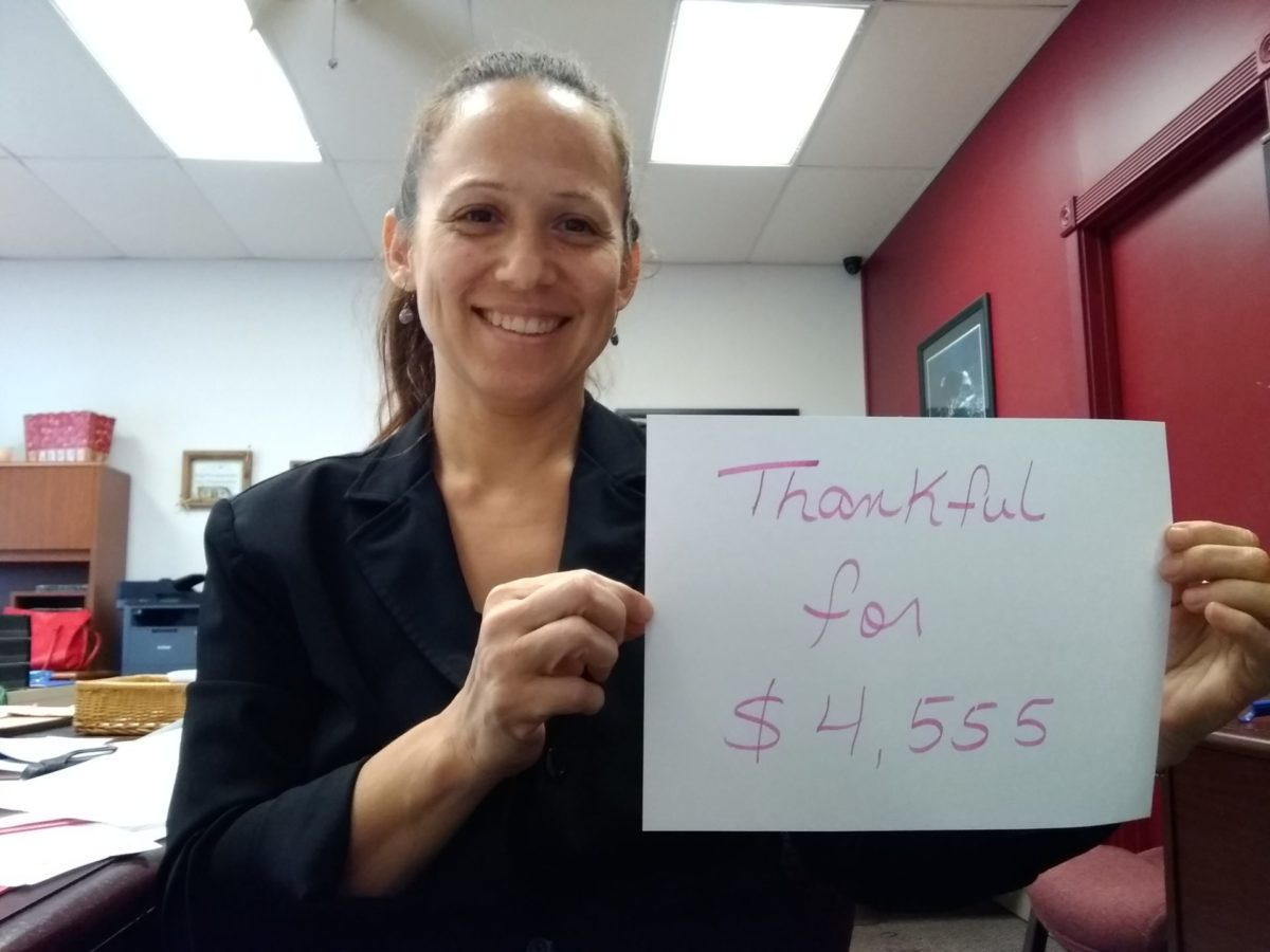 Elisabet Rivera: Thankful for $4,555