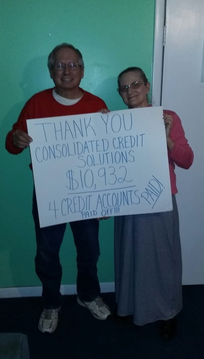 Mark and Janice Bufford: Thank you Consolidated Credit Solutions, $10,392, 4 credit accounts paid off!