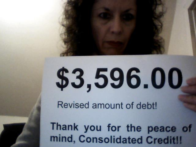 Sandra Astorga: $3,596 revised amount of debt! Thank you for the peace of mind, Consolidated Credit!
