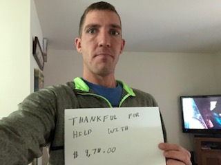 Timothy Schlieve: Thankful for help with $9,780
