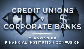 Goes to page displaying info graphic on the key differences between credit unions and banks
