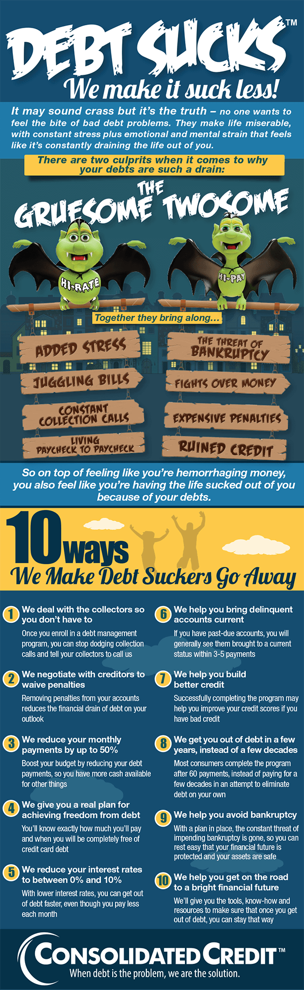 Graphic displaying 10 ways to make debt suck a little less in your life