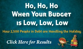 Goes to page displaying info graphic on how indebted families scale back holiday budgets