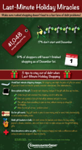 Consolidated Credit infographic with last-minute shopping tips for the holidays