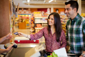 Using credit cards for everyday purchases at the grocery store