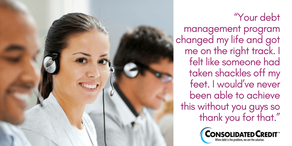 Sonya explains the feeling of freedom she got with Consolidated Credit's debt management program