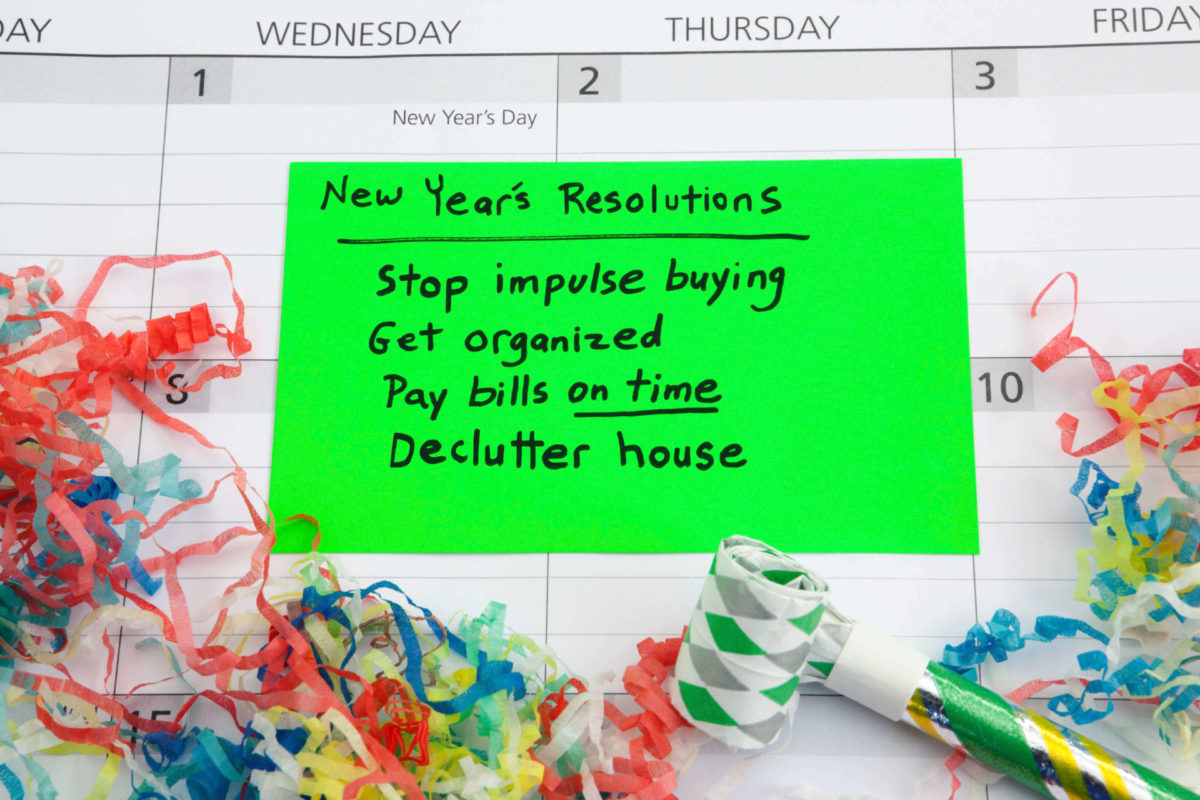 New Year's resolutions: Stop impulse buying, Get organized, Pay bills on time, Declutter house