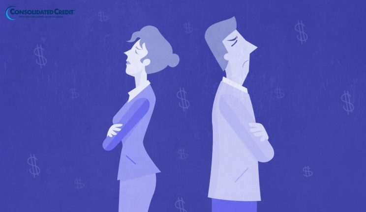 Financial infidelity illustration; upset couple facing away from each other