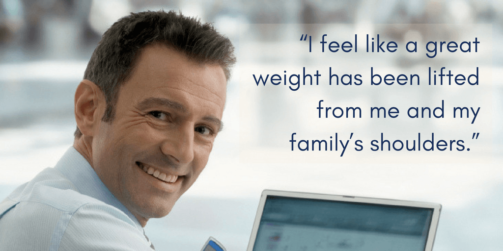 I feel like a great weight has been lifted from me and my family's shoulders.""