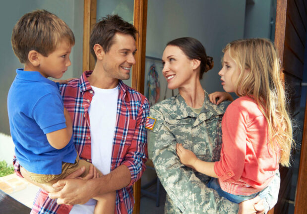 Military family transitions to civilian life in a new home