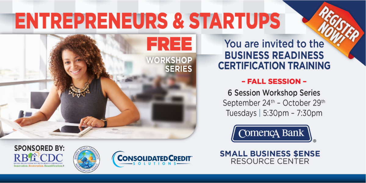 Flyer for small business readiness certification in Riviera Beach