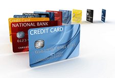 how to live debt free; credit cards in a row