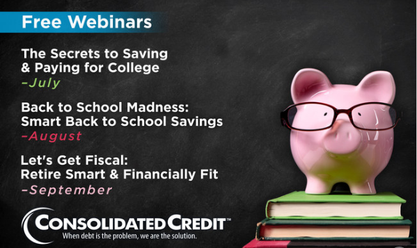 Consolidated Credit offers 3 free webinars