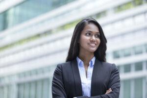 Business woman looks forward