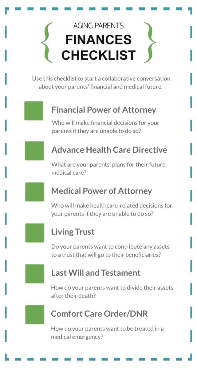 aging parents finances checklist sample infographic