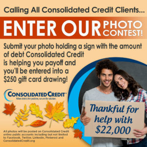 Flier for Be Thankful Photo Contest from Consolidated Credit