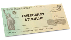 Mock photo of an emergency stimulus check from the U.S. Treasury