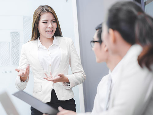 woman teaching in workplace