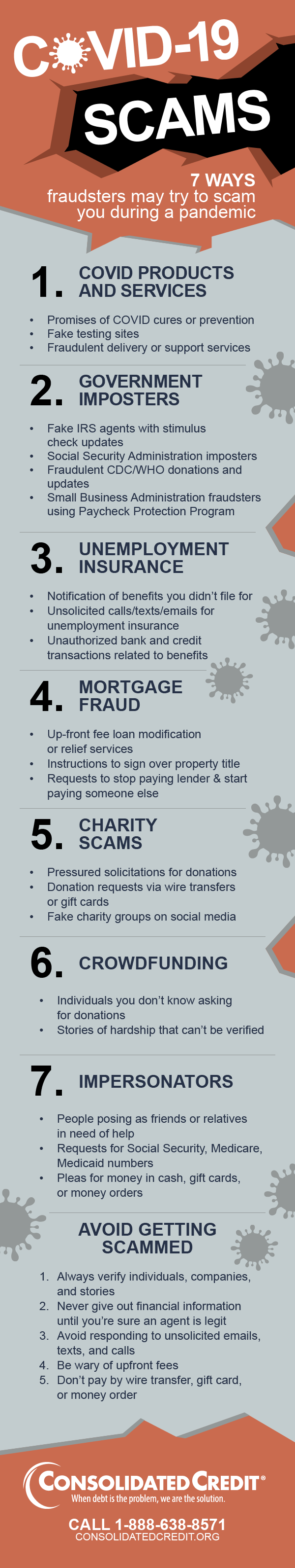 Consolidated Credit infographic for COVID-19 scam alert
