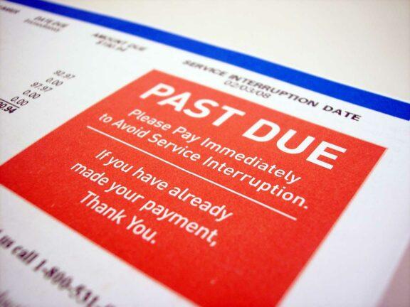Past due credit card debt notice
